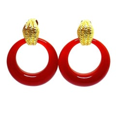 David Webb Door Knocker Carnelian Yellow Gold Earrings