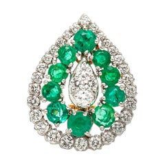 David Webb Drop Emerald Diamond Earrings