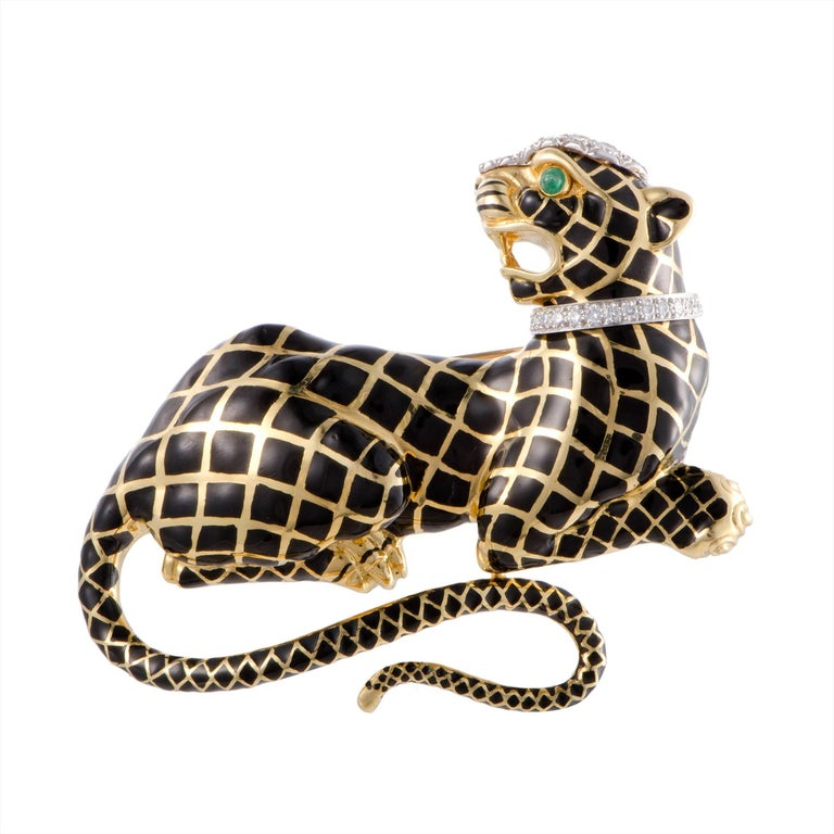 David Webb Emerald and Diamond Black Enameled Panther Gold Brooch
