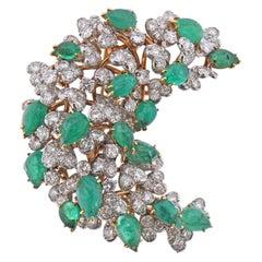 David Webb Emerald Cabochon Diamond Gold and Platinum Brooch Pin