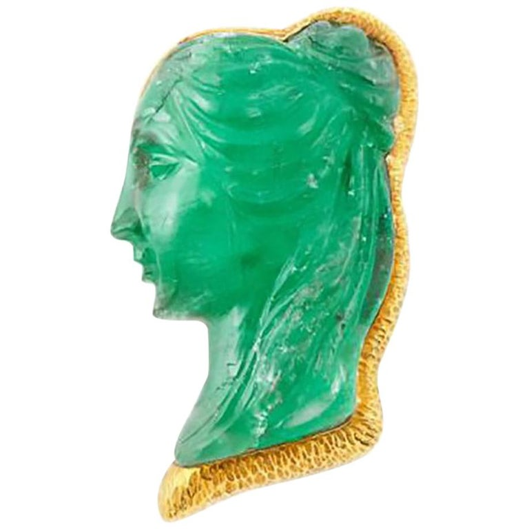 David Webb Emerald Cameo Brooch For Sale