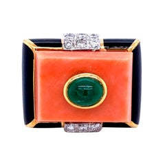 David Webb Emerald Coral Diamond Enamel Gold Ring