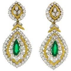 David Webb Emerald Diamond Gold Earrings Day and Night
