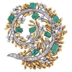 David Webb Emerald Diamond Gold Platinum Brooch