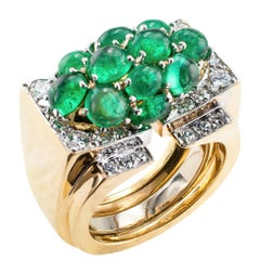 David Webb Emerald Diamond Gold Platinum Cocktail Ring