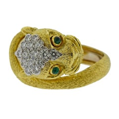 David Webb Emerald Diamond Gold Platinum Leopard Ring