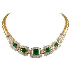 David Webb Emerald Diamond Necklace