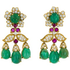 David Webb Diamond Emerald Ruby Yellow Gold Chandelier Earrings