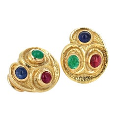 David Webb Emerald Ruby and Sapphire Cabochon Earrings