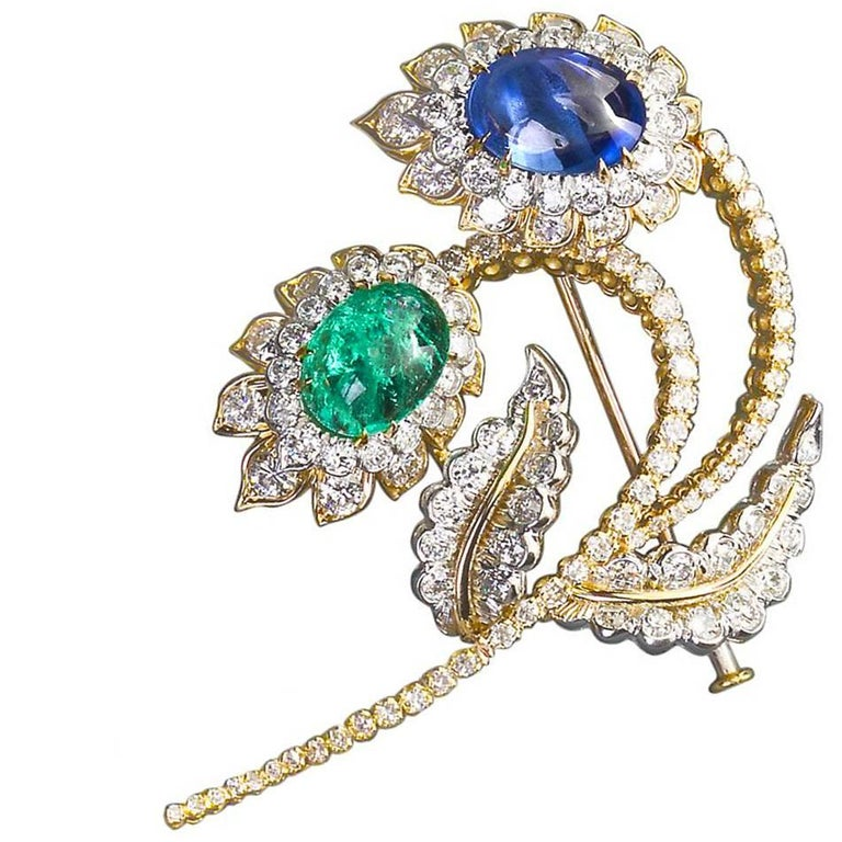 David Webb Emerald Sapphire Diamond Flower Spray Brooch 15 Carat