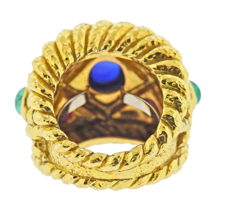 Cabochon David Webb Emerald Sapphire Ruby Gold Ring For Sale