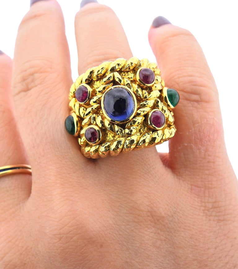 David Webb Emerald Sapphire Ruby Gold Ring In Excellent Condition For Sale In New York, NY