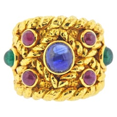 David Webb Emerald Sapphire Ruby Gold Ring