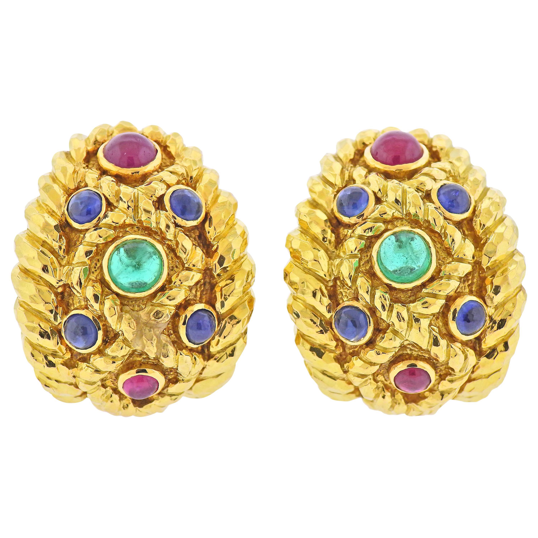 David Webb Emerald Sapphire Ruby Hammered Gold Half Hoop Earrings