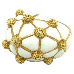 David Webb Enamel 18 Karat Gold Geodesic Dome Ring