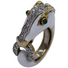David Webb Enamel and Diamond Horse Ring
