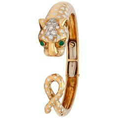 David Webb Enamel and Diamond Panther Bangle Bracelet