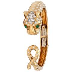 David Webb Enamel and Diamond Panther Bangle Bracelet