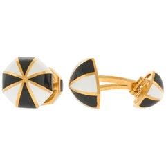 David Webb Enamel and Gold Cufflinks