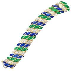 David Webb Enamel Diamond Bracelet