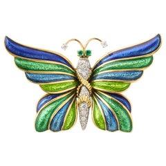David Webb Enamel Diamond Emerald Gold Butterfly Pin