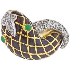 David Webb Enamel Diamond Emerald Snake Gold Ring