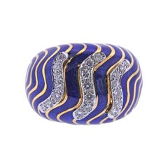 David Webb Enamel Diamond Gold and Platinum Dome Ring