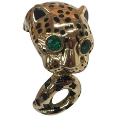 David Webb Enamel Emerald Gold Leopard Heirloom Ring Estate Fine Jewelry