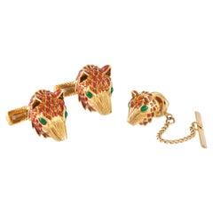 David Webb Enamel Fox Head Cufflink & Tie Tack Set in 18KY Gold with Certificate