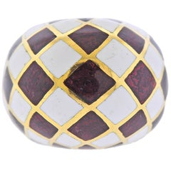 David Webb Enamel Gold Dome Ring