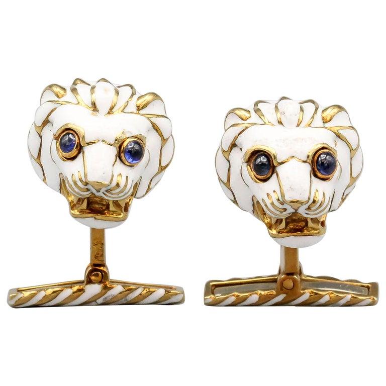David Webb Enamel Sapphire 18 Karat Gold Lion Head Cufflinks For Sale