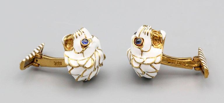 Contemporary David Webb Enamel Sapphire 18 Karat Gold Lion Head Cufflinks For Sale