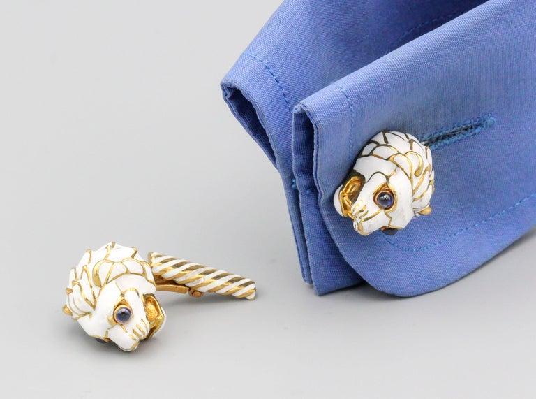 Men's David Webb Enamel Sapphire 18 Karat Gold Lion Head Cufflinks For Sale