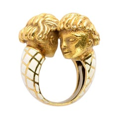 David Webb Enamel & Yellow Gold Heads Bypass Ring