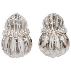 David Webb Estate Carved Crystal and Diamond Earrings