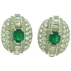 David Webb Estate Emerald and Diamond Platinum Large Cocktail Earrings