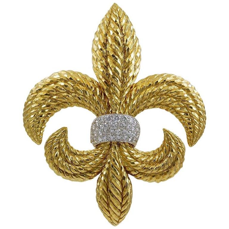 DAVID WEBB Fleur-de-Lis Diamond Detachable Brooch For Sale