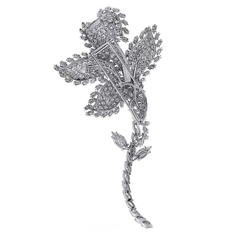 Modern David Webb Flower Diamond Brooch Pin For Sale