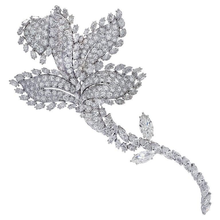 David Webb Flower Diamond Brooch Pin For Sale