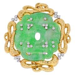 David Webb French Jade Gold and Diamond Brooch Pendant