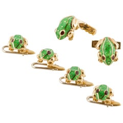David Webb Frog Cufflinks and Studs Dress Set