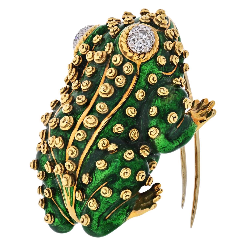 David Webb Frog Platinum and 18 Karat Gold Green Frog, Enamel, Diamonds Brooch