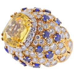 David Webb Gemstone Diamond Sapphire Gold Platinum Ring
