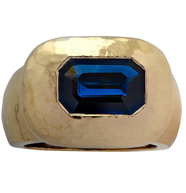 Emerald Cut David Webb GIA Certified 3.61 Carat Sapphire Ring For Sale