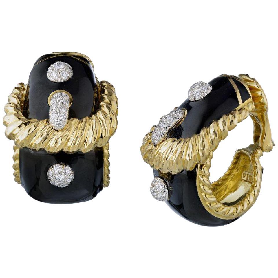 David Webb Gold 18 Karat Buckle Diamond Black Enamel Earrings