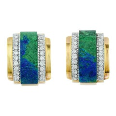 David Webb Gold and Azurmalachite Diamond Clip Earrings