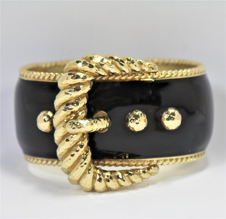 David Webb Black Enamel Gold Buckle Bangle 2