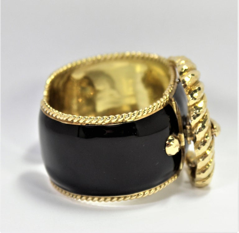 David Webb Black Enamel Gold Buckle Bangle 4