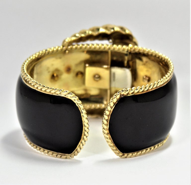 David Webb Black Enamel Gold Buckle Bangle 5
