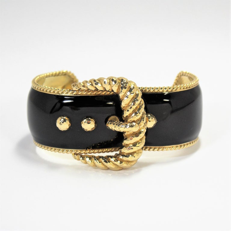 David Webb Black Enamel Gold Buckle Bangle 6